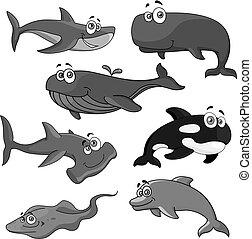 dyr, iconerne, fish, havet, vektor, hav, cartoon