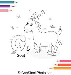 dyr, kids., handdrawn., side, bog, coloring, illustration., alfabet, vektor