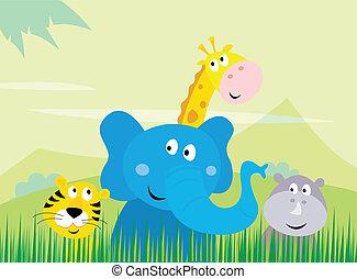dyr, safari, cute, vild