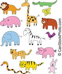 dyr, samling, doodle