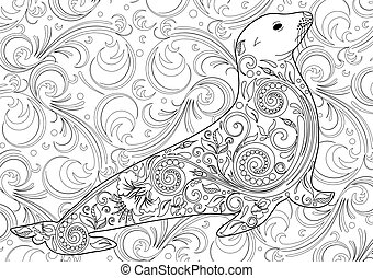dyr, side, coloring