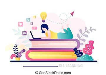e-learning, undervisning, laptop., banner., hjem, online, arbejder, væv, schooling., pige, kurser, tutorials., student, eller