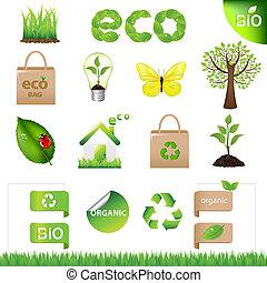eco, elementer, konstruktion, samling, iconerne
