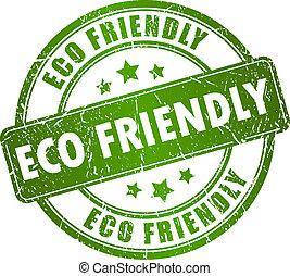 eco, frimærke, vektor, kammeratlig