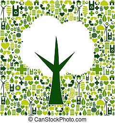 eco, grønne, symbol, træ, iconerne