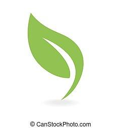 eco, ikon, grønnes blad