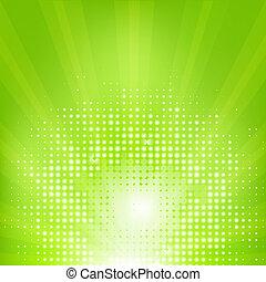 eco, sunburst, grøn baggrund