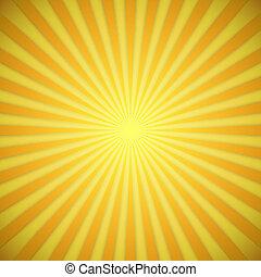 effect., gul, klar, vektor, baggrund, appelsin, skygge, sunburst