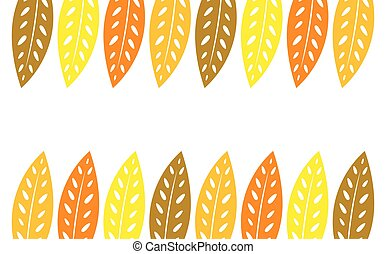 efterår, baggrund., blade, ramme
