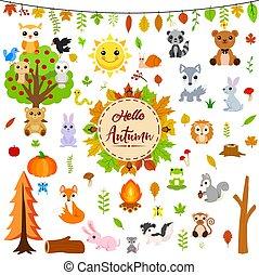 efterår, dyr, stor, sæt, cute