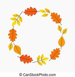 efterår forlader, cirkel, border.