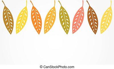 efterår, grænse, blade, baggrund.