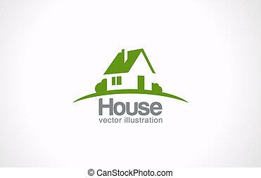 egentlig estate, hus, abstrakt, countryside., realiteten, logo, icon.