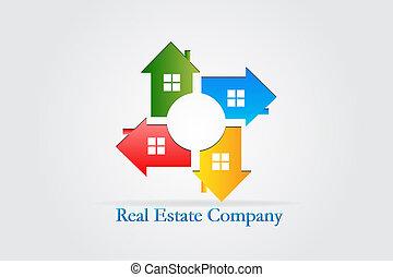 egentlig estate, huse, vektor, teamwork, logo, identifikation card