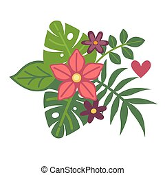 eksotiske, planter, sommer, tropisk, floristic, frisk, komposition