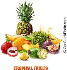 eksotiske, tropisk, komposition, frugter