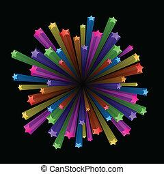 eksplodere, farverig, stjerner