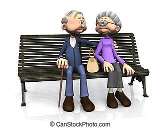 elderly kobl, cartoon, bench.