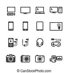 elektroniske, anordninger, iconerne