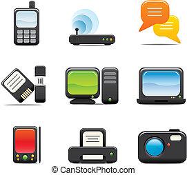 elektroniske, sæt, ikon computer, æn