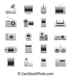 elektroniske, sølv, iconerne