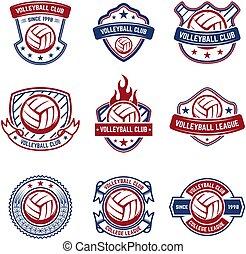 element, emblem, tegn, konstruktion, logo, badge., etikette, emblems, hvid, volleyball, baggrund.