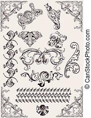 elementer, calligraphic, dekoration, vektor, konstruktion, side, set: