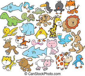 elementer, cute, vektor, konstruktion, dyr