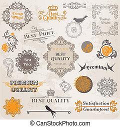 elementer, dekoration, etikette, samling, calligraphic, vektor, konstruktion, vinhøst, blomster, side, set: