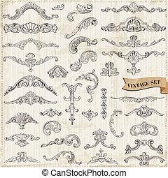 elementer, dekoration, ramme, samling, calligraphic, vektor, konstruktion, vinhøst, blomster, side, set:
