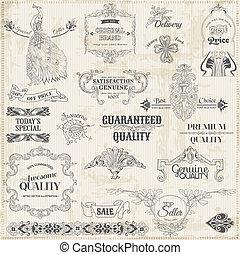elementer, dekoration, ramme, samling, calligraphic, vektor, konstruktion, vinhøst, side, set: