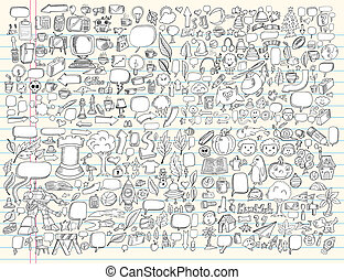 elementer, doodle, sæt, vektor, konstruktion