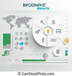elementer, eller, væv, abstrakt, avis, tryk, sæt, vektor, infographic, konstruktion, 3