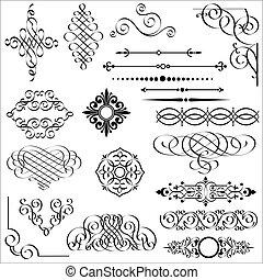 elementer, konstruktion, calligraphic
