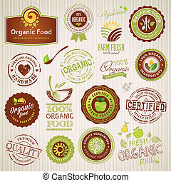 elementer, mad, organisk, etiketter