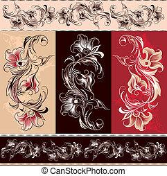 elementer, ornamental, ornamentere, blomstrede