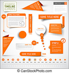 elementer, timeline, /, infographic, skabelon, appelsin
