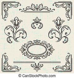 elementer, vinhøst, calligraphic, dekoration, frames., konstruktion, side