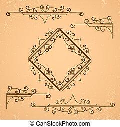 elements., ornamental, blomstrede