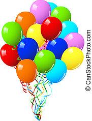 eller, gilde, fødselsdag fejren, balloner
