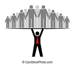 eller, gruppe, everyone., folk, hel, boss., boss, community., dets, hold, supporterer, leder