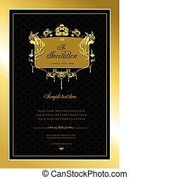 eller, invitation, card., guld, bryllup, v