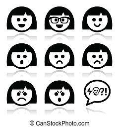 eller, pige, kvinde, avatar, ansigter, smiley