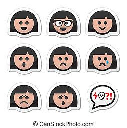 eller, pige, kvinde, avatar, ansigter, vektor