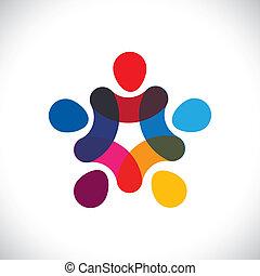 eller, samfund, farverig, spille, også, cirkler, holde, friendship-, arbejdere, solidaritet, vektor, og, hænder, graphic., dåse, sammenslutning, enhed, børn, denne, illustration, sammen, forestiller, begreb, osv.