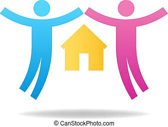 elskere, familie, concept., par, house., illustration, vektor, par, female., icon., mandlig, din, design.