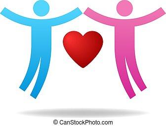 elskere, heart., par, giv, concept., love., illustration, almissen, vektor, par, female., icon., mandlig, din, design.