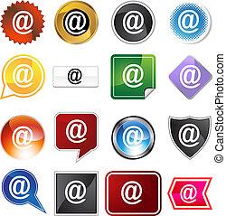 email, @, ikon, sæt