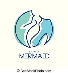 emblem, card, illustration, element, vektor, konstruktion, logo, baggrund, invitation, hvid, banner, havfrue