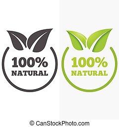 emblem, elementer, naturlig, firma, logotype, væv, etikette, det leafs, produkter, eller, logo